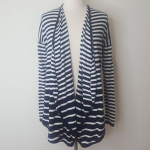 Black and white striped drapey cardigan